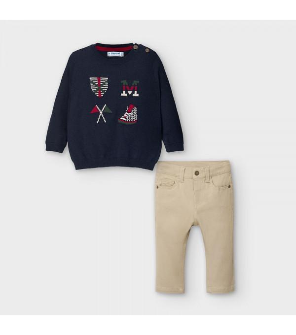 Set pulover tricot steaguri bebe baiat 02588 MY-COS109Y