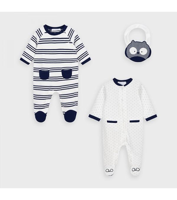 Set 2 pijamale si bavetica nou-nascut baiat MY-SET11V