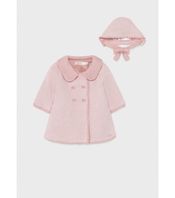 Palton tricot cu caciulita nou-nascut fata 2403 MY-G06Y