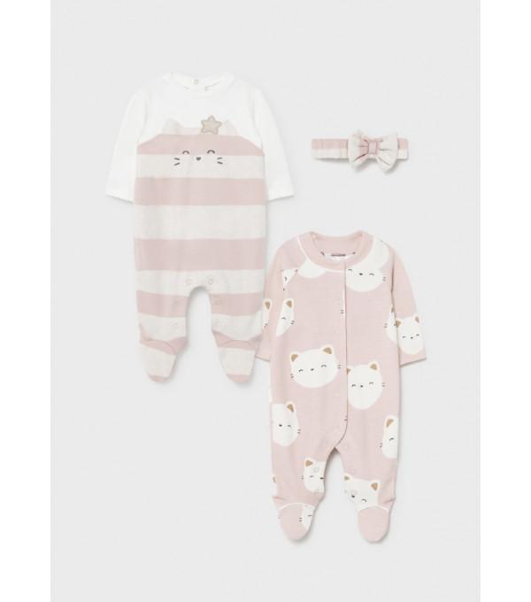 Set 2 pijamale ECOFRIENDS nou-nascut fata 2669 MY-SET31Y