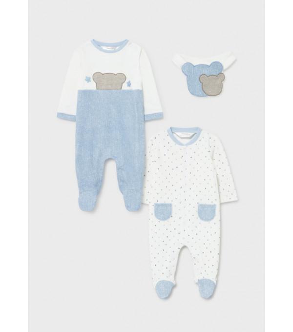 Set 2 pijamale si bavetica nou-nascut baiat 2680 MY-SET20Y