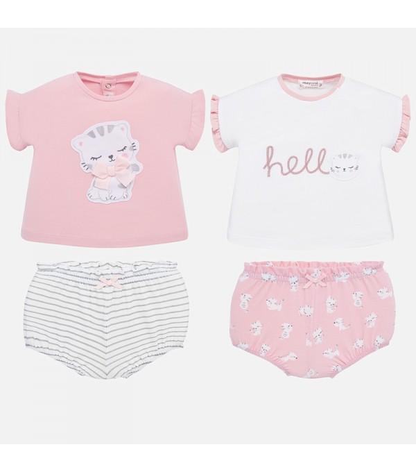 Set tricouri desen si chilotei bebe fetita nou-nascuta MY-SET67P
