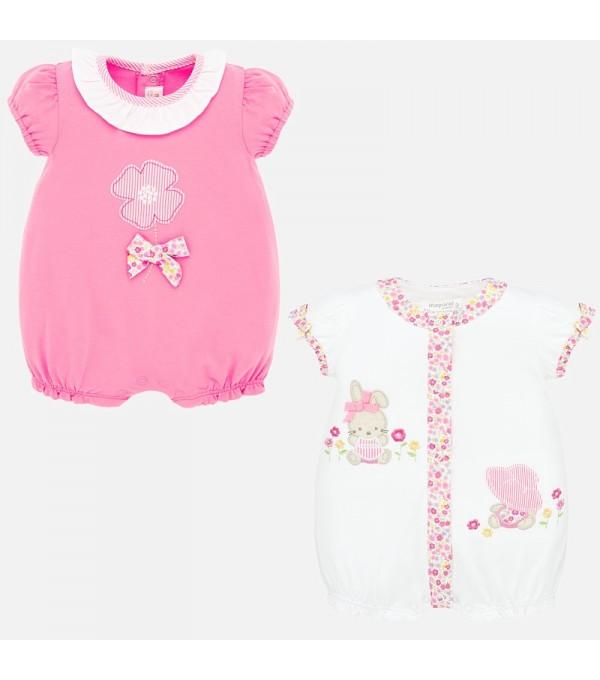 Set pijamale scurte cu aplicatii bebe fetita nou-nascuta MY-SET61P