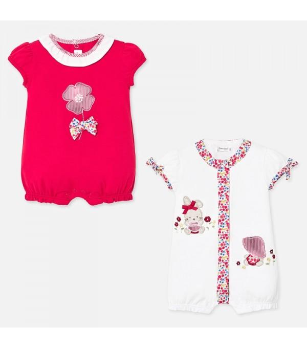 Set pijamale scurte fetita rosu nou-nascuta  Mayoral My-set61p