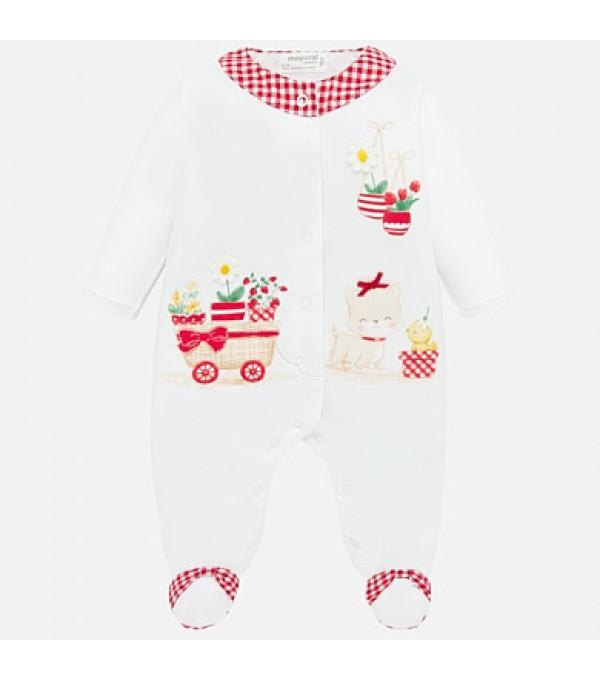 Pijama lunga cu desene bebe fetita nou-nascuta Mayoral My-bd14p