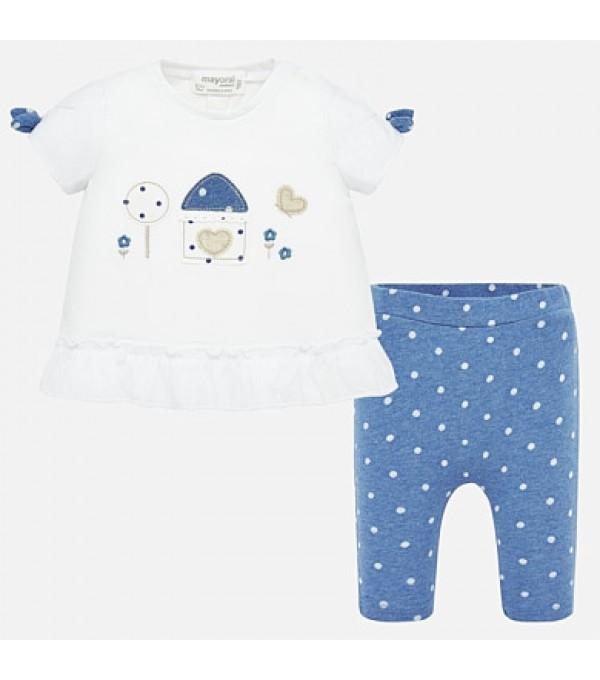 Set tricou si leggings cu buline bebe fetita MY-SET68P