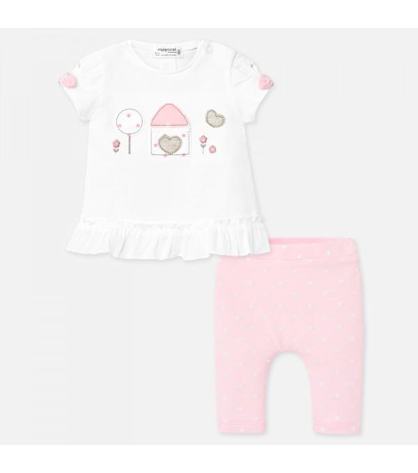 Set tricou si leggings cu buline bebe fetita nou-nascuta Mayoral MY-SET20P
