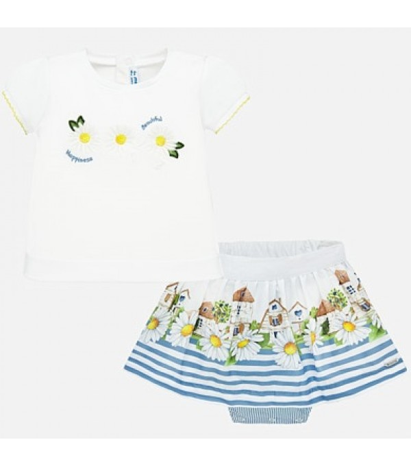 Set tricou cu desen si fusta bebe fetita MY-SET64P