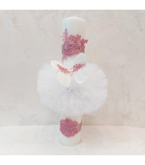 Lumanare botez cu fluture lila NB-LUMANARE01X