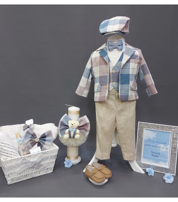 Costum Botez Casual din In Beige/ Bleu NB-CS04X
