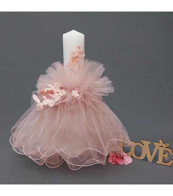 Lumanare botez tull roz pal fetita SP-LUMANARE05x