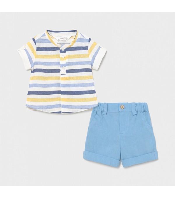 Set pantaloni scurti si camasa nou-nascut baiat 01217 MY-CS03X