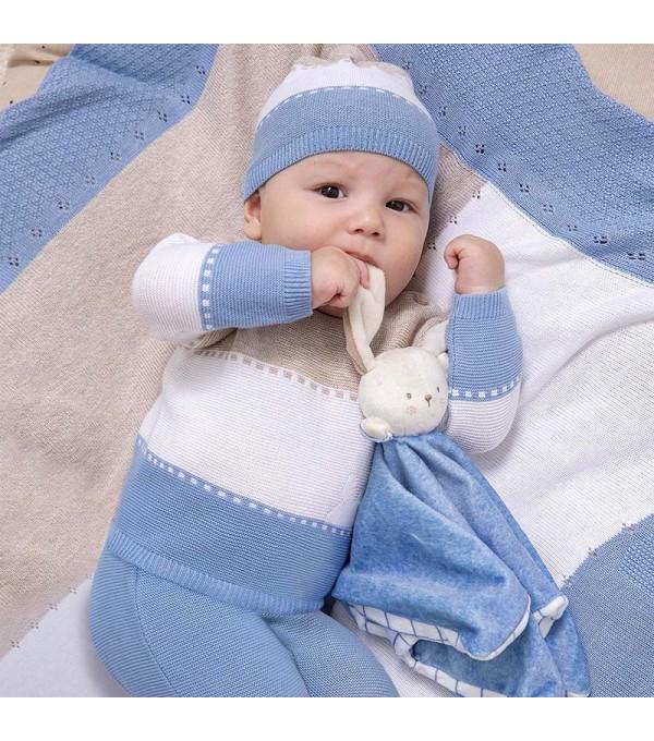 Set pantaloni cu botosei tricot  nou-nascut baiat 01565 MY-SET05X