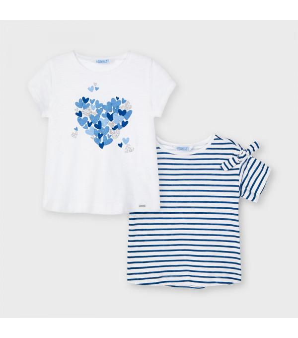 Tricou alb flori albastre fetita MAYORAL 3009 MY-BL41X