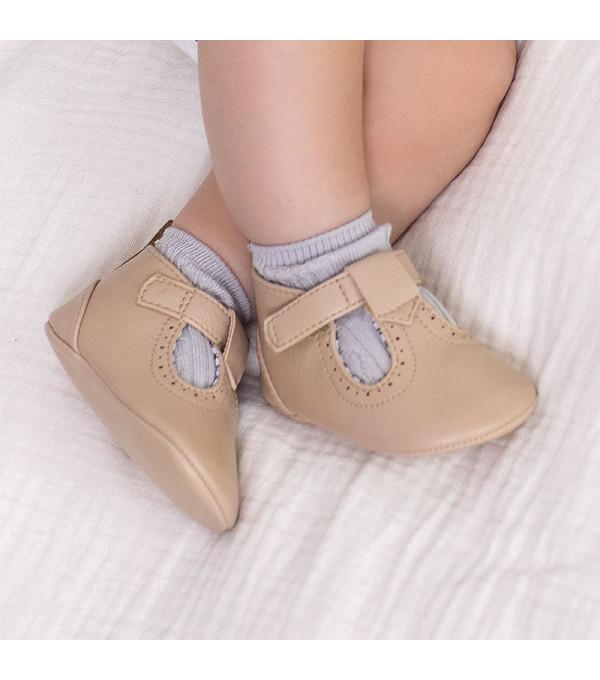 Pantofi bej piele ecologica nou-nascut baiat 9392 MY-PANTF08X