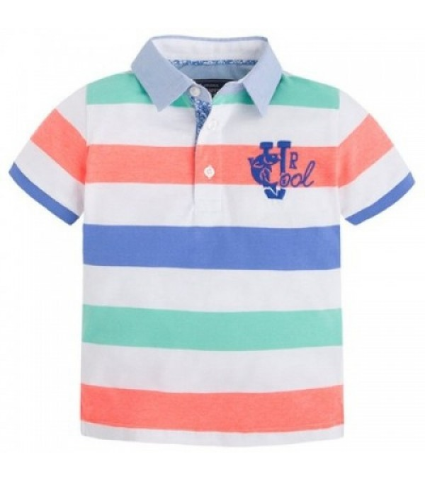 Tricou polo cu dungi neon-blue Mayoral My-bl428a