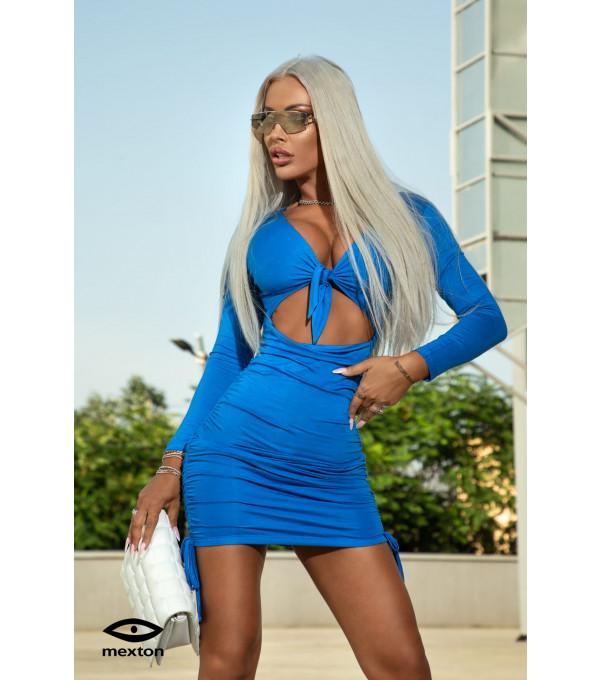 Rochie albastra cu decupaje Mexton MEXR8778Y