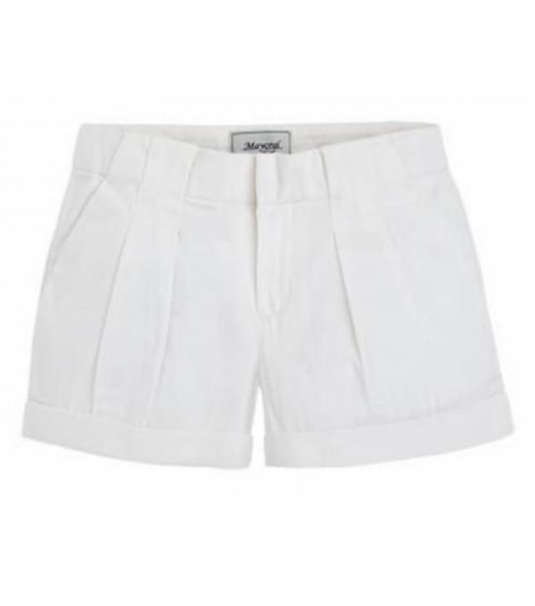 Pantalon scurti albi cu pense Mayoral My-pl33b