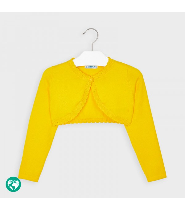 Bolero galben tricot basic fetita 00314 MY-BO02P