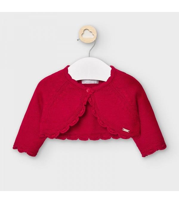 Bolero rosu scurt tricot new born fata 00307 MY-BO102Y