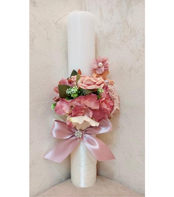 Lumanare botez fata flori roz si bebe NB-LUMANARE01X