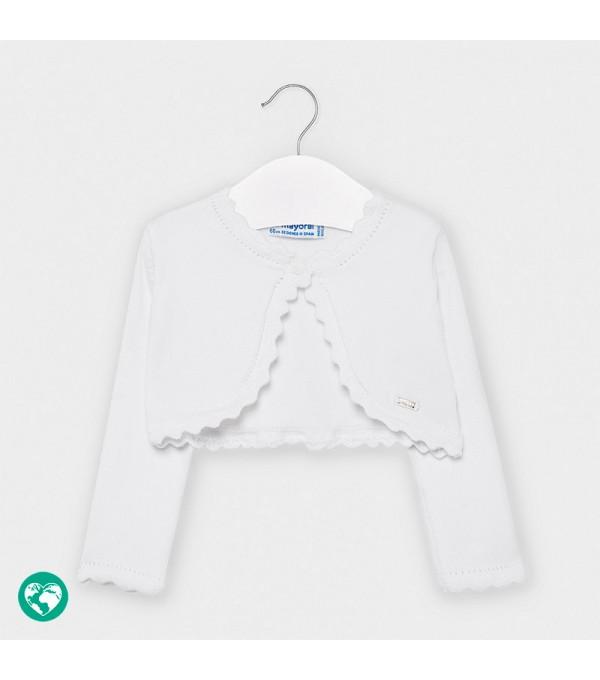 Bolero alb tricot basic bebe fetita 00308 MY-BO101Y