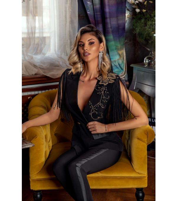 Costum negru franjuri BBY-CS40X