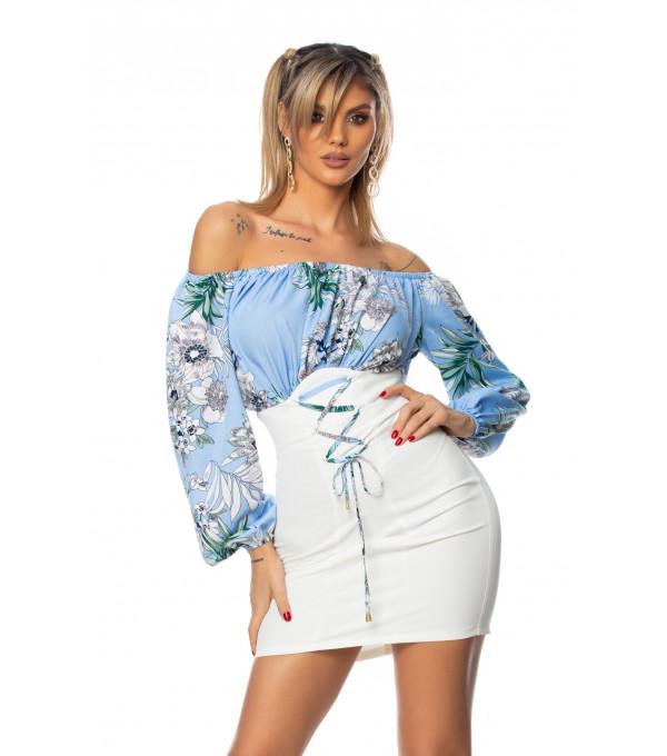Rochie alba-bleu dama BBY-R48X
