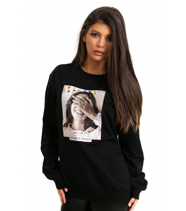 Bluza neagra imprimeu fata IT-BL24V