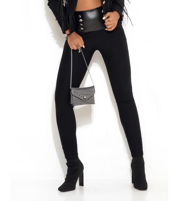 Pantaloni negri talie cu insertie piele Mexpl8268v