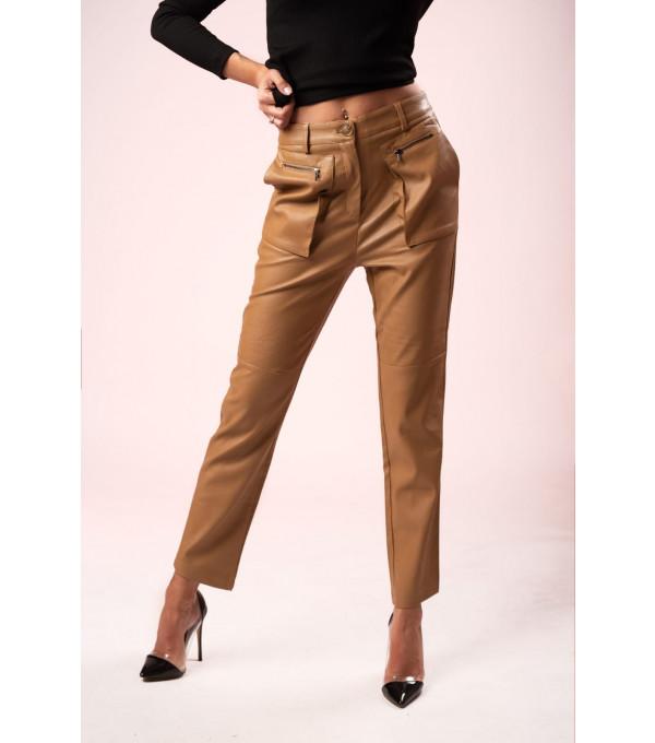 Pantaloni piele eco bej FIT-PL03X