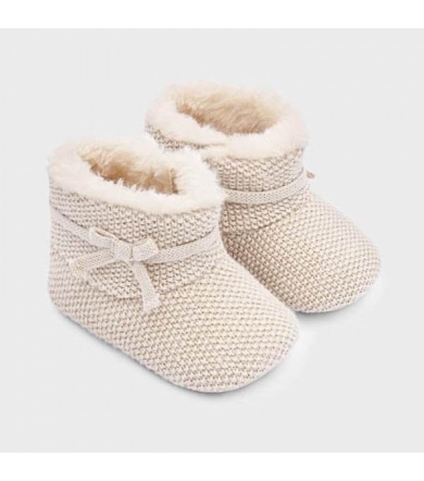 Pantofi  crem tricot new born fata MY-GHE01V