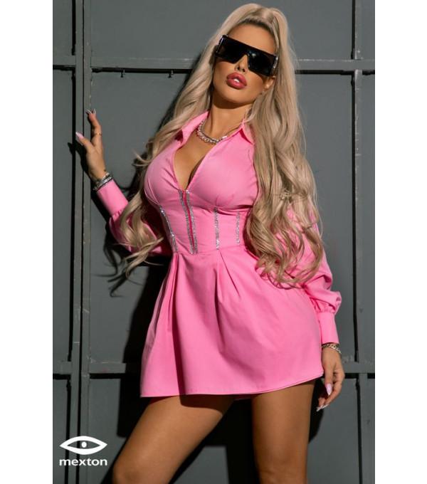 Rochie roz tip camasa Mexton MEXR8559X