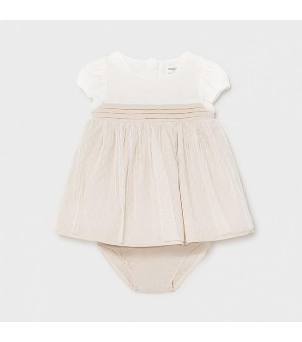Rochie alba-bej bebe fetita 01823 Mayoral My-r02x