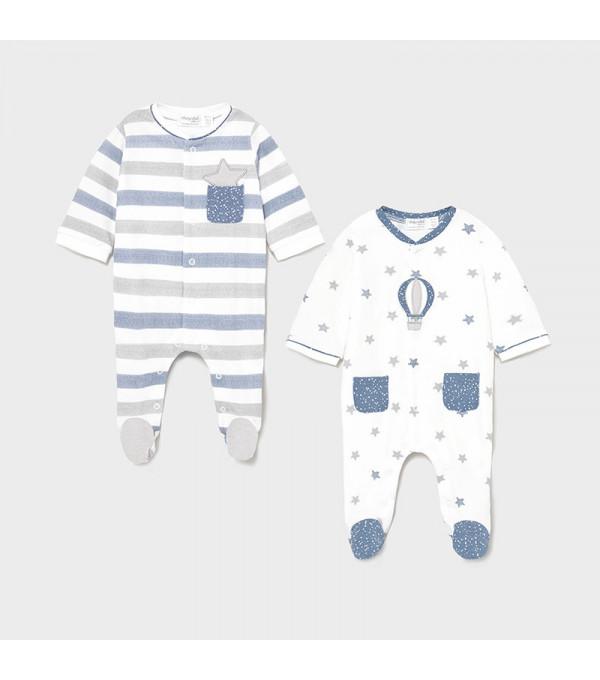 Set 2 pijamale nou-nascut albastru 1625 MY-SET15X