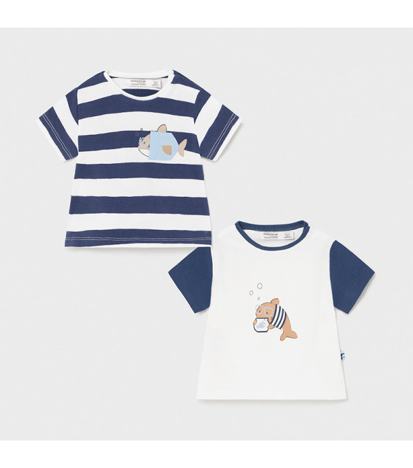 Set 2 tricouri maneca scurta nou-nascut baiat 1075 MY-BL35X