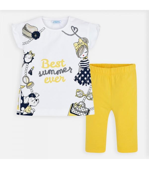 Set tricou imprimeu si pantaloni trei sferturi fetita Mayoral MY-SET29P