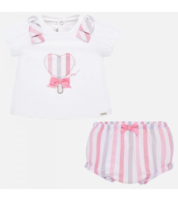 Set bluza desen si chilotei bebe fetita nou-nascuta MY-SET66P