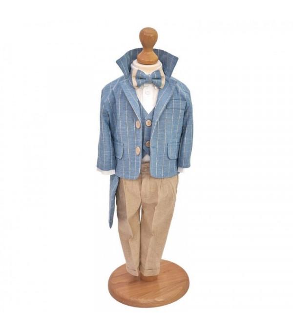 Costum Botez Casual din In Albastru NB-CS04X
