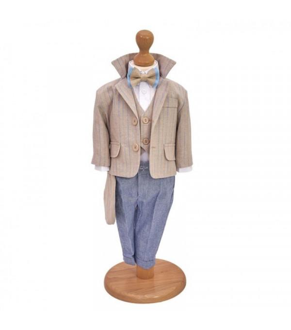 Costum Botez Casual din In Beige NB-CS04X