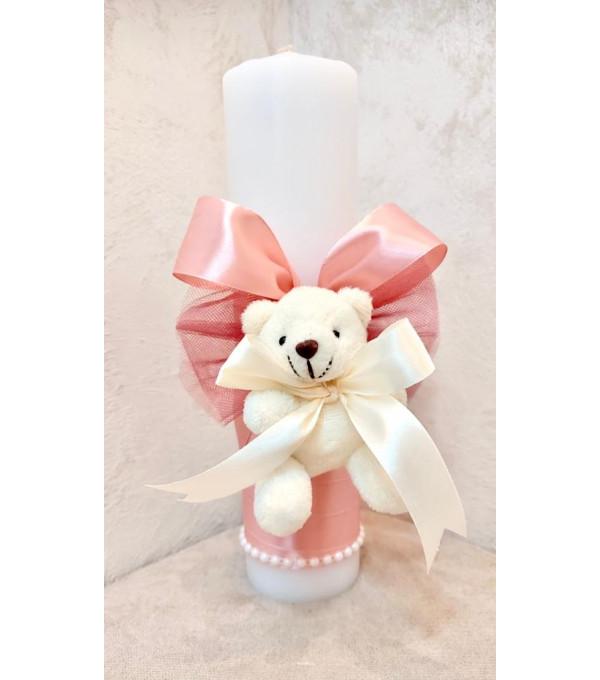 Lumanare botez fata funda roz si ursulet SP-LUMANARE03X
