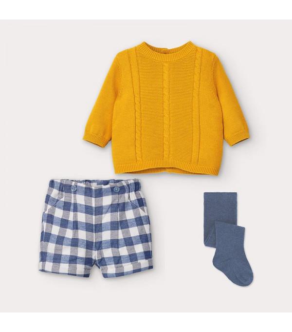Set galben pantaloni scurti carouri nou-nascut baiat 2218 MY-COS102Y