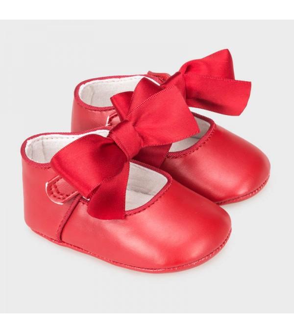 Pantofi fundita ceremonie rosu new born fata MY-BAL02V