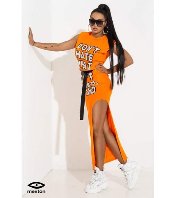 Rochie portocalie marca MEXTON Mexr8134z