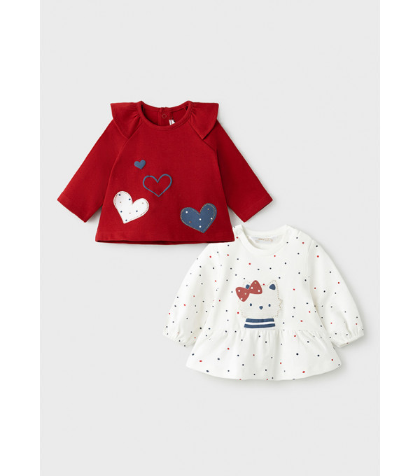 Set tricouri maneca lunga ECOFRIENDS nou-nascut fata 2060 MY-BL06Y
