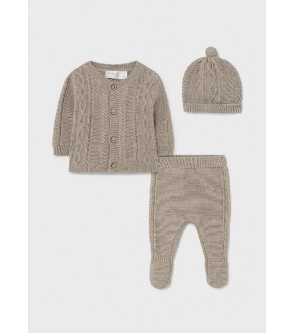 Set pantaloni cu botosei ECOFRIENDS si caciula nou-nascut baiat 2508 MY-SET07Y