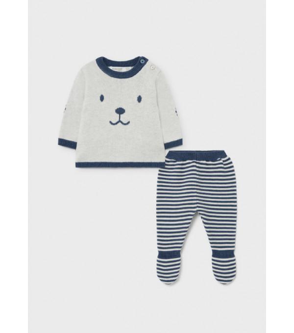 Set pantaloni cu botosei ECOFRIENDS tricotat nou-nascut baiat 2511 MY-CS09Y
