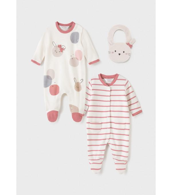 Set ECOFRIENDS 2 pijamale cu bavetica nou-nascut fata 2670 MY-SET21Y