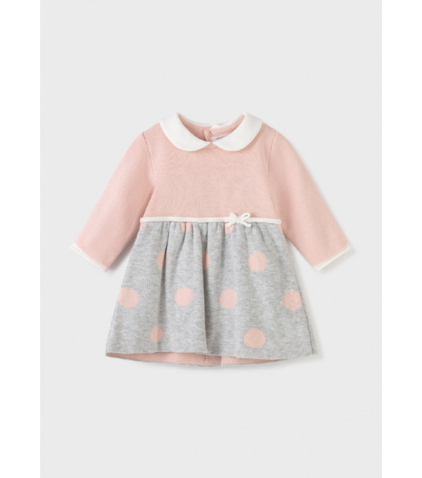 Rochie ECOFRIENDS tricot combinat nou-nascut fata 2804 MY-R31Y