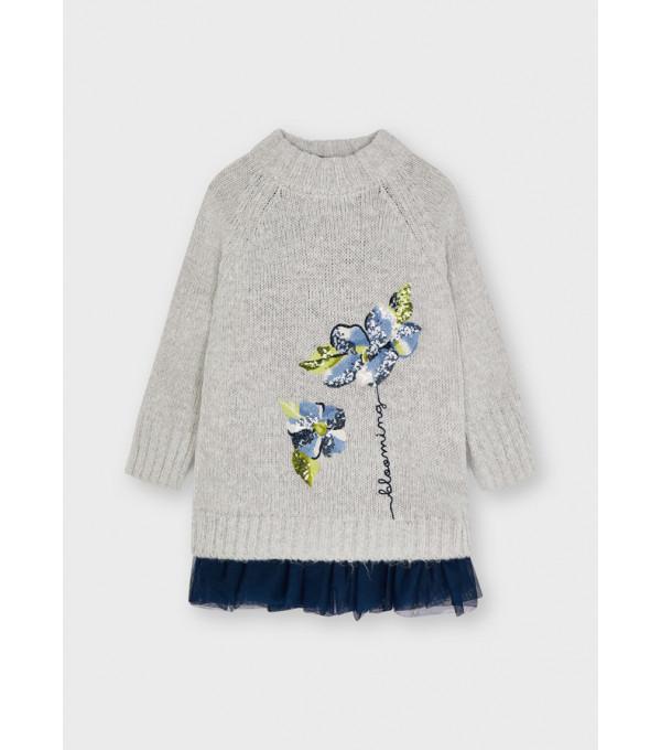 Rochie tricot brodata fata 4931 MY-R22Y